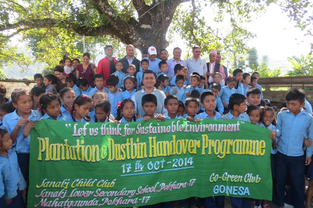 Plantation & Dustbin Handover Program (Go - Green Club Gonesa)a -